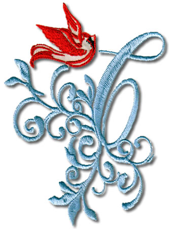 Cardinal Swirl Monogram - Click Image to Close