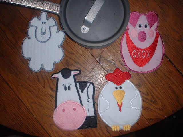 Farm Animal Pot Holders