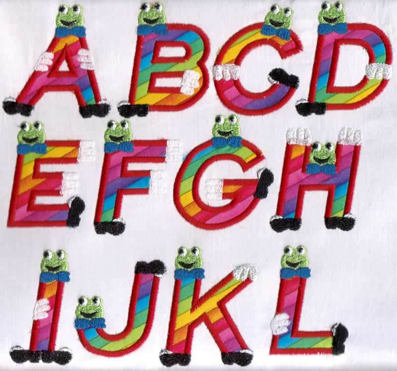 Froggy Applique Alphabet - Click Image to Close