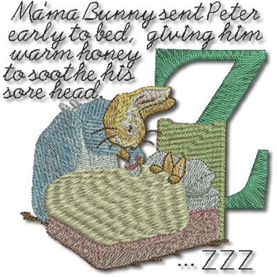 Beatrix Potter Alphabet Letter Z - Click Image to Close